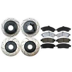 Front Rear Brake Rotor SIM Semi-Metallic Pad Dodge Chrysler Town /& Country Grand