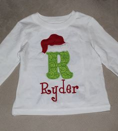 Christmas Shirt with Santa Hat LongSleeve TShirt for by BurpsEtc, $28.00