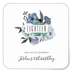 Floral Watercolor Bouquet 18th Birthday Party Square Sticker - spring gifts style season unique special cyo
