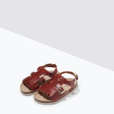 Image 5 of LEATHER SANDALS WITH FRINGES from Zara