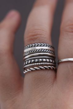 8 Sterling silver stacking rings.Set of rings.Custom made.Hand made.