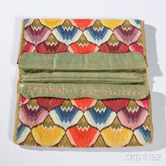 """Flame-stitch Pocketbook, possibly Newbury, Massachusetts, c. 1766,  the flap of one pocket embroidered """"Ieremia Pearson 1766,"""" ht. 4 1/4, wd. 8 in."""
