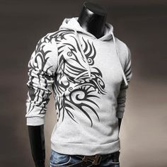 Sweat a capuche Hoodie Outwear Fashion Dragon print tatoo Gris clair