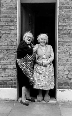 Two  ladies on the doorstep, London's East End, c. 1960s, photo by Tony Hall