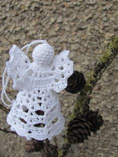 Produkty podobne do Crochet angel Christmas decoration w Etsy Christmas Angels, Christmas Tree Ornaments, Christmas Crafts, Christmas Decorations, Crochet Angel Pattern, Crochet Angels, Filet Crochet, Hand Crochet, Christmas Crochet Patterns