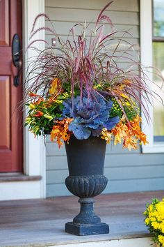 22 gorgeous fall planters for Thanksgiving fall decorations best fall flowers for pots great autumn planter ideas with mums pumpkins kale more - A Piece of Rainbow fall falldecor autumn outdoor backyard curbappeal diy homedecor homedecorideas diyhomedecor Autumn Garden, Easy Garden, Garden Pots, Garden Ideas, Fall Flower Pots, Outdoor Fall Flowers, Fall Containers, Succulent Containers, Fall Planters