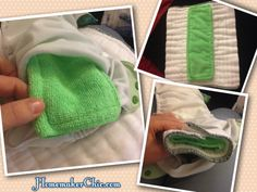 Diy-cloth-inserts. Picture also shows a great way to add absorption for overnight diapers.