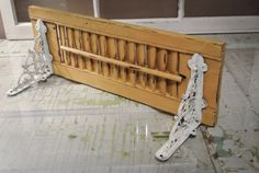 "Vintage Shutter-Shelf Repurposed Mustard Yellow 32"" Rustic Home Décor Shabby Chic Hand Painted on Etsy, $79.95"