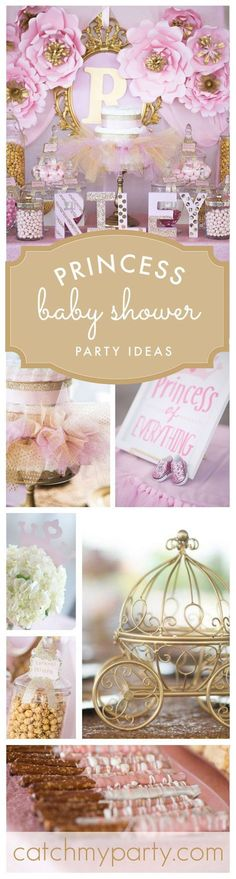 """Princess / Baby Shower """"Pink and gold baby shower for princess Riley"""" - Birthday Party Ideas! - Princess / Baby Shower """"Pink and gold baby shower for princess Riley"""" - Birthday Party Ideas! Fiesta Baby Shower, Baby Girl Shower Themes, Girl Baby Shower Decorations, Girl Themes, Baby Shower Princess, Baby Princess, Baby Shower Gender Reveal, Baby Shower Parties, Baby Shower Gifts"""