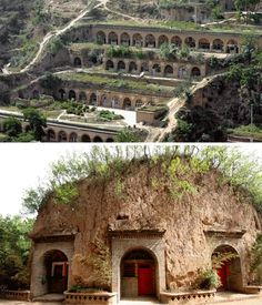 From Cappadocia to Missouri: Over 30 Gorgeous Cave Houses | Urbanist / Yaodongs are dug out shelters found throughout northern China, sculpted straight out of the hard rock walls. Requiring less material to create these homes, yaodongs are quire popular. Entire villages have been built into the sides of mountains.