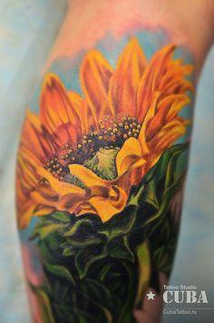 sunflower tattoo - 45 Inspirational Sunflower Tattoos | Art and Design