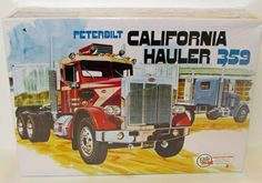 Peterbilt 359 California HaulerHighly detailed plastic pieces molded in white, transparent red and clear 10 hollow vinyl Firestone truck tires Dual rear axles w