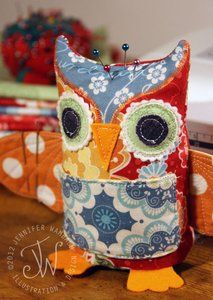 Pinfeathers Owl Pincushion-finished