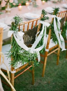 Garland and ribbon bridal chairs: http://www.stylemepretty.com/2014/09/11/romantic-cliff-top-wedding-by-the-sea-in-bali/ | Photography: Jemma Keech - http://jemmakeech.com/
