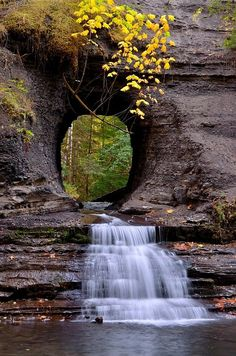 Hole in the Wall - Port Alberni, British Columbia; Remnants of an old pipeline that once fed Port Alberni with water. The hole is where the pipeline was punched through the rock formation and joined up to the reservoir behind; photo via karen All Nature, Amazing Nature, Science Nature, Beautiful Waterfalls, Beautiful Landscapes, Beautiful Scenery, Natural Scenery, Belle Photo, Beautiful World