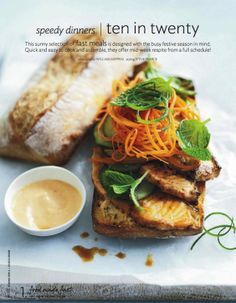 grilled ciabatta Thai -marinated salmon sandwich with cucumber, fuyu persimmon, julienned carrot, & lemon verbena // via donna hay mag