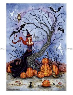 Halloween Tree witch 8.5X11 PRINT by Amy Brown