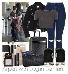 """""""Airport with Logan Lerman"""" by ana-a-m ❤ liked on Polyvore featuring Wilfred, Topshop, Louis Vuitton, Converse, NARS Cosmetics, Casetify and Wet Seal"""