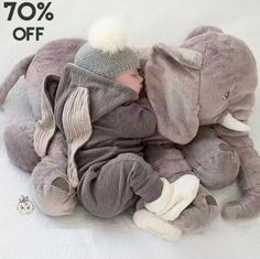 5-Color 60/40CM Plush Stuffed Animal Elephant Baby Soft Sleeping Back Cushion Pillow Dolls Toys