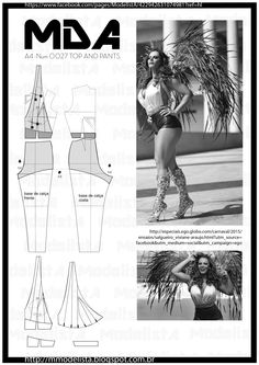 quinta-feira, 12 de fevereiro de 2015 A4 - NUM 0027 TOP AND HOT PANTS High waist very short shorts worn by the pin ups of the 50s, very popular in the disco era of the 70s, the hot pants returned to the parties and to the streets.