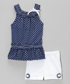 Look at this #zulilyfind! Dreamstar Navy Polka Dot Ruffle Tank & Shorts - Infant & Toddler by Dreamstar #zulilyfinds