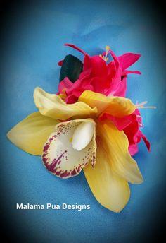 TROPICAL HAIR CLIP Hawaiian Hair Accessory Orchid by MalamaPua
