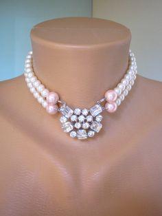 Handmade Swarovski Pearl and Vintage Rhinestone Bridal Choker #choker #jewelry