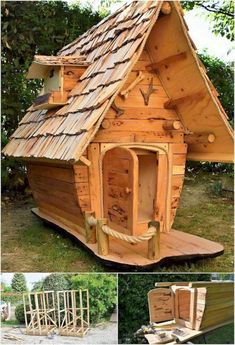 Incredible DIY Ideas Using Old Shipping Wood Pallets: Thinking about adding the old shipping wood pallets in your house furniture list options turns out to be one of the outstanding and. Cubby Houses, Fairy Houses, Dog Houses, Play Houses, Tiny House Cabin, Tiny House Design, Backyard Playhouse, Pallet Playhouse, Woodland House