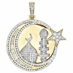 10K Yellow Gold Baguette Diamond Islam Crescent Moon Pendant Charm 2.37 CTTW | eBay Etsy Jewelry, Gold Jewelry, Colored Diamonds, White Diamonds, Gemstone Engagement Rings, Moon Charm, Diamond Settings, Baguette Diamond, Diamond Pendant