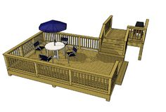 Great deck plan at 273 sf.  Perfect for the DIY.  Download the plan for free and learn how to build a deck at our website.