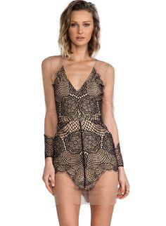 Black V Neck Long Sleeve Backless Lace Dress 39.00