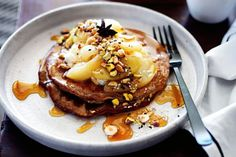 Pancakes are given a healthy makeover, with gluten-free teff flour and Greek yoghurt, and a sweet cinnamon-spiced dukkah to serve, by Yoni Kalfus.