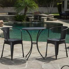 Outdoor Best Selling Home Decor Furniture Kayla Aluminum 3 Piece Round Patio Dining Set - 295917, BSHD1806-1