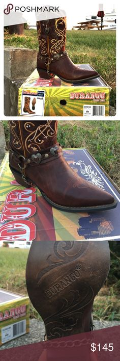 I bought these for my wedding, but were too wide Size 9 women's western Durango brand boots. Cognac coloring with light tan swirls. Love them and wanted them to work so much, but I cannot wear them. Would make a great fashion boot or wedding boot. Very comfortable. Bought brand new at $225, but never worn. Still inside individual baggies inside the box. Absolutely beautiful western boots! Durango Shoes Heeled Boots
