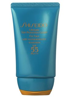 Shiseido Ultimate Sun Protection Cream for Face SPF 55  Moisturizes and fends off sun damage from UVA and UVB rays Made of: Octinoxate & zinc oxide; rose apple leaf extract (antioxidant); glycerin & xylitol (moisturizer) The formulation is creamy and has a surprisingly fresh, pleasant scent  Even during several successive 90-degree days, it stood up to sweat and surf (with frequent and generous reapplication)—so much so that skin didn't reveal even a hint of pinkness.