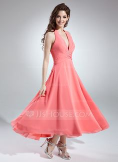Bridesmaid Dresses - $106.99 - A-Line/Princess Halter Asymmetrical Chiffon Bridesmaid Dress With Ruffle Beading (007001145) http://jjshouse.com/A-Line-Princess-Halter-Asymmetrical-Chiffon-Bridesmaid-Dress-With-Ruffle-Beading-007001145-g1145