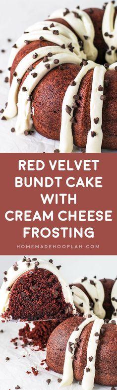Red Velvet Bundt Cake with Cream Cheese Frosting! A Nothing Bundt Cake copycat recipe that hits the mark: ultra moist red velvet bundt cake topped deliciously fluffy cream cheese frosting. | HomemadeHooplah.com