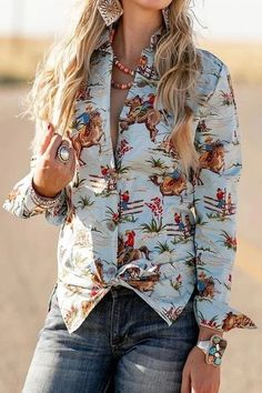 Casual Floral Print Long Sleeves T-shirts - shopingnova White Long Sleeve, Long Sleeve Tops, Casual Sweaters, Vintage Shirts, Long Sleeve Sweater, Types Of Sleeves, Printed Shirts, Blouses For Women, Western Style