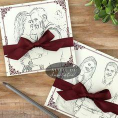 Invitatia de nunta Schita portret este personalizata cu fotografia trimisa de miri adusa intr-o forma schitata, stilizata.