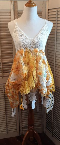 upcycled crochet doily top