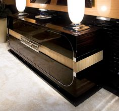 MACASSAR EBONY & EEL LEATHER SIDEBOARD RYE100 - Large image of Deco Macassar Ebony sideboard.