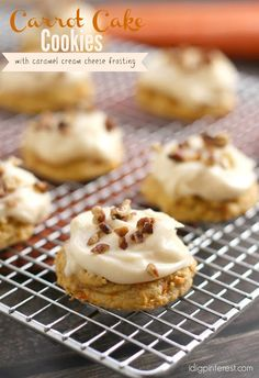 Carrot Cake Cookies with Caramel Cream Cheese Frosting -- All the goodness of a moist, spice-infused carrot cake in a handheld, easy-to-make, on-the-go form, then these cookies are for you! Best Cookie Recipes, Best Dessert Recipes, Sweet Recipes, Cake Recipes, Recipes Dinner, Casserole Recipes, Crockpot Recipes, Spring Desserts, Easy Desserts