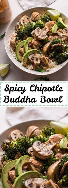 This spicy chipotle Buddha bowl with cauliflower rice is a filling, healthy, vegetarian, and low-carb meal. Roasted mushrooms and broccoli are the stars of the show.