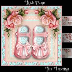 Little Steps Card Front Kit by Julie Hutchings Beautiful card front kit that has 3 sheets to print cut and assemble to make a stunning card that includes the card front 8x8 decoupage insert cut and fold gift card and toppers also includes a choice of sentiments