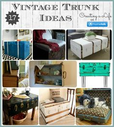 Home and Garden DIY Ideas 17 {Upycled} Vintage Trunk Ideas Old Trunks, Vintage Trunks, Trunks And Chests, Vintage Suitcases, Antique Trunks, Trunk Redo, Trunk Makeover, Furniture Makeover, Diy Furniture