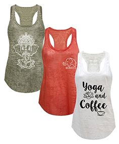 985d8944845 Tough Cookie s Women s Burnout Elephant Lotus Small Yoga Coffee Tank Top 3  Pack at Amazon Women s Clothing store