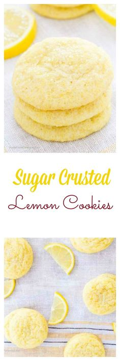 Personalized Graduation Gifts - Ideas To Pick Low Cost Graduation Offers These Sugar Crusted Lemon Cookies Were A Family Favorite Growing Up Lemon Desserts, Lemon Recipes, Cookie Desserts, Just Desserts, Sweet Recipes, Cookie Recipes, Delicious Desserts, Dessert Recipes, Yummy Food