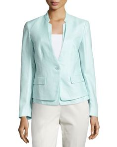 Shaw+Linen+One-Button+Jacket,+Breeze+by+Lafayette+148+New+York+at+Neiman+Marcus+Last+Call.
