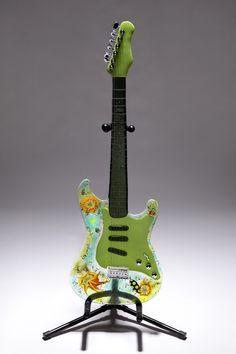 Custom Made Fused Glass Guitar