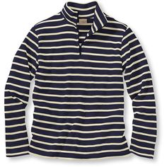 L.L.Bean French Sailor's Pullover, Long-Sleeve Quarter-Zip ($40) ❤ liked on Polyvore featuring tops, sweaters, long sleeve tops, evening sweaters, sweater pullover, quarter zip sweater and fitted sweater
